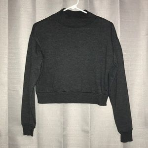 Wild Fable Cropped Grey Mock Neck Sweatshirt